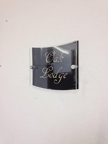 FSSS Ltd Prestige Plaque de maison rectangulaire incurvée gravée numéro de rue moderne contemporain (orange)