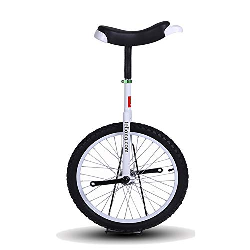 "HWF 16"" / 18"" Excellent Unicycles Balance Bike for Kids/Boys/Girls, Larger 20"" / 24"" Freestyle Cycle Unicycle for Adults/Man/Woman, Best Birthday Gift (Color : White, Size : 18 Inch Wheel)"