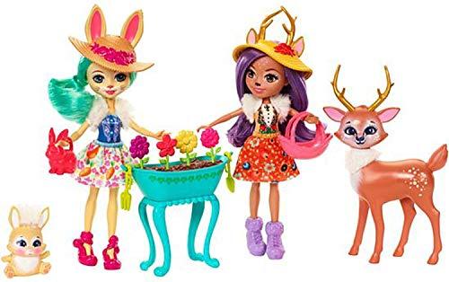 Enchantimals Danessa Deer y Sprint Conjunto jardín mágico, muñeca con mascota y accesorios (Mattel FDG01)