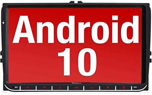 Vanku Android 10 Radio 9 Pulgadas Compatible para VW 2 DIN Autoradio con GPS Navegador soporta Bluetooth, Control Volante, USB, WiFi, 4G, Micro SD, Mirror-Link