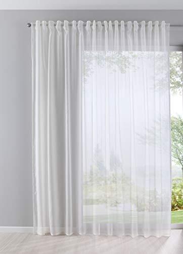 Gardine Store Batist Cotton Look transparent verdeckte Schlaufen Universalband 245x140 Creme, 61500