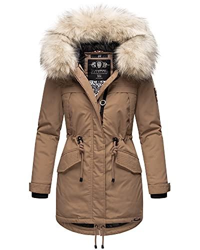Navahoo Damen Winter Jacke Stepp Parka Mantel Winterjacke warm gefüttert Kunstpelz LADY LIKE S-XXL (Taupe, L)