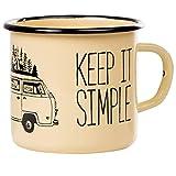 Keep it simple - Take it easy | Taza esmaltada en beige con diseño de furgoneta de camping | Taza retro resistente y ligera...