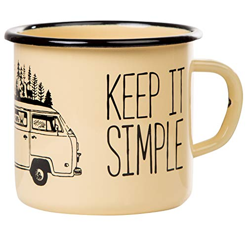 Keep it simple - Take it easy | Emaille Tasse in beige mit Campervan Campingbus Motiv | Retro Becher robust und leicht für Camping und Trekking | Kaffebecher 330 ml