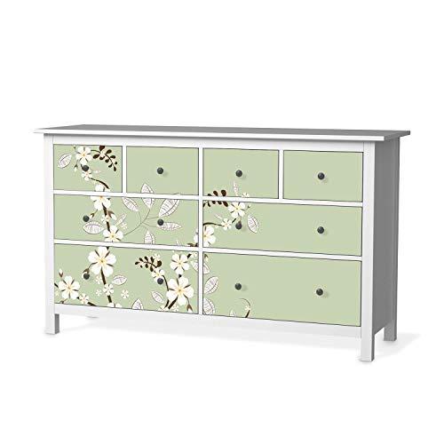 creatisto Möbelfolie passend für IKEA Hemnes Kommode 8 Schubladen I Möbeldeko - Möbel-Folie Tattoo Sticker I Wohn Deko Ideen für Wohnzimmer, Schlafzimmer - Design: White Blossoms