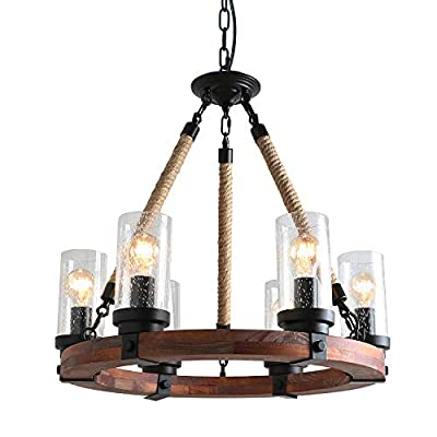Anmytek Round Wooden Chandelier with Clear Glass Shade Rope and Metal Pendant Five Lights Decorative Lighting Fixture Retro Rustic Antique Ceiling Lamp