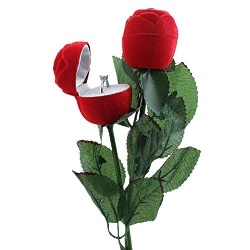 Doitsa 1pcs Flor Rosa Caja para Anillos Caja Joyero Caja para Anillos de Boda Romántico