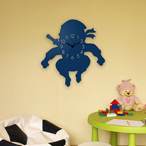 Wanduhr Cartoon-Ninja 2-Blau, Kinderuhr, Uhr für Kinderzimmer