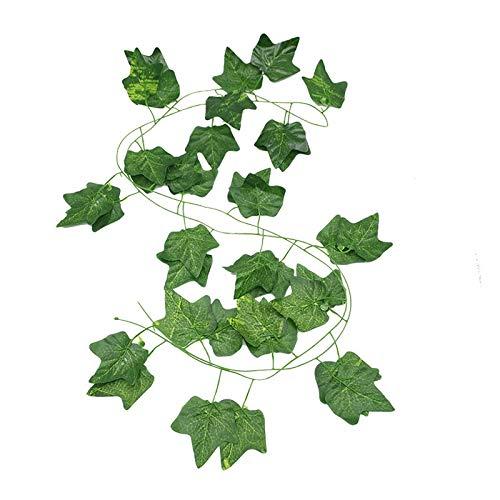 2.3m Artificial Ivy Green Leaf Garland Plants Vine Fake Foliage Flowers Home Decor Plastic Artificial Flower Rattan String (Color : A, Size : 5pcs)