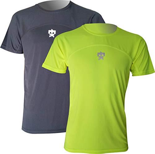 Pack x2 Unidades Camiseta EKEKO Model Chariots of Fire, Camisetas técnicas Multideporte Que combina 2 Tejidos Microfibra. Especifica para Running y Deportes en General (XL, Negra/Amarilla)