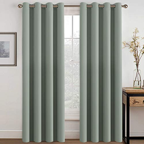 H.VERSAILTEX Blackout Room Darkening Curtains Window Panel Drapes - (Sage Color) 2 Panels per Set, 52 inch Wide by 96 inch Long Each Panel, 8 Grommets/Rings per Panel