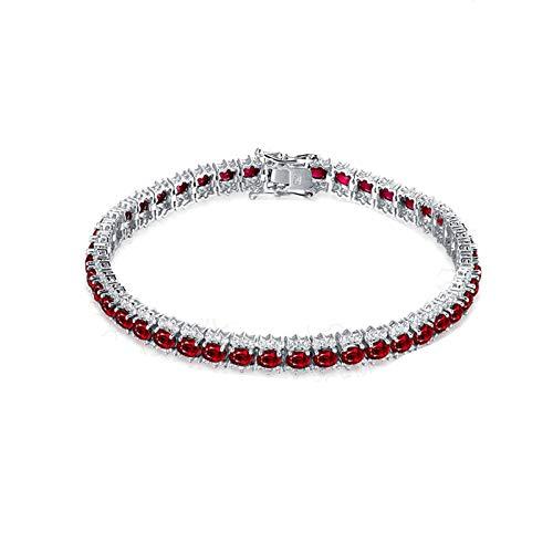SonMo Armschmuck 18K Weißgold Armbänder für Frauen Blumen Oval Tennis Armband Armkette Silber Rubin mit Diamant Geschenk
