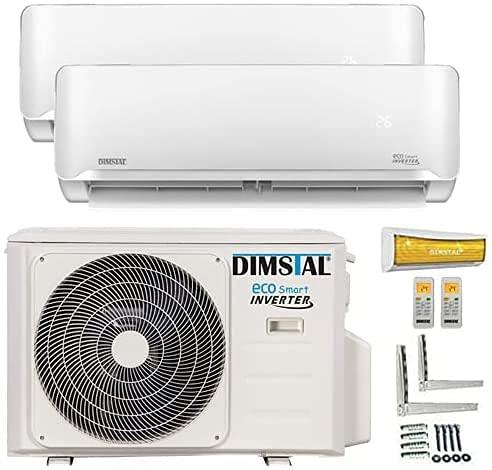 A++/A++ Duo-Split Golden-Fin 3,5 + 3,5 kW 12000+12000 BTU MultiSplit Klimaanlage INVERTER Klimagerät mit zwei Inneneinheiten 2 Innengeräten und Heizung WiFi/WLAN-Ready