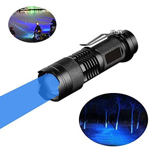 Blue Torch, WESLITE Blue Light Mini Torch Blue Beam LED Flashlight Torches 3 Modes Zoomable with Clip Long Range for Night Fishing Hunting(Battery not Included)