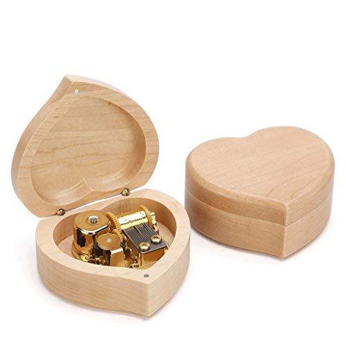 Caja de música con mecanismo de madera, caja musical portátil, regalo para cumpleaños, Navidad, día de San Valentín, caja de música multifuncional (color: arce heart-mus: 'Spirited Away')
