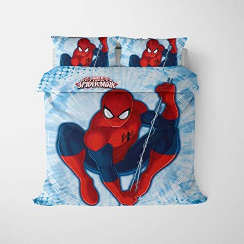 HLSM 3Pc Duvet Cover Set Spiderman 1 Duvet Cover And 2 Pillow Cases Bedding 3 Piece Duvet Cover Set Twin (A11,Double Size 200x200cm)
