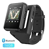 Clip MP3 Player with Bluetooth, AGPTEK 16GB Sport Bluetooth MP3 Watch for Running, Jogging, Cycling, Hiking Support FM Radio, Vioce Recorder and Stopwatch for Kids and Adults