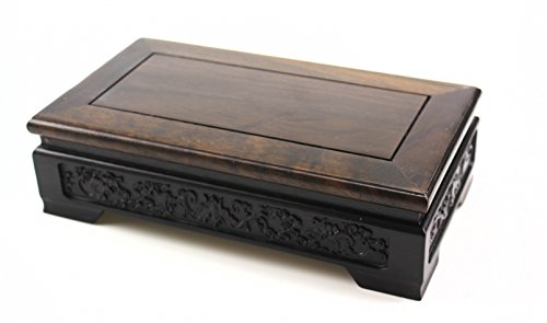 Oriental Furniture Chinese Rosewood Solid Mahagony Wood Display Stand Wooden Base Rectangle Rectangular Shape Pedestal with Carved Handcrafts (M 22cm 12cm 6.5cm)