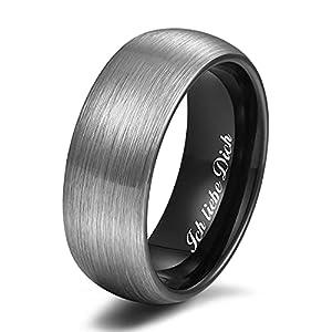 Zakk Ring Herren Damen Wolfram Verlobungsring Trauringe Ehering Partnerringe Gebürstet 6mm 8mm Schwarz Blau (Schwarz-8mm, 68 (21.6))
