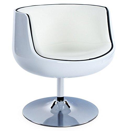 Alterego - Fauteuil design 'DEKO' boule rotatif blanc