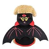 WEKON Disfraces para Perro, Ropa de Perro Halloween, Ropa de Perro, Disfraz de Mascota Halloween Talla XL para Perro de Peso 4-6 Kg Longitud de Espalda 35cm Diseño con Alas de Murciélago