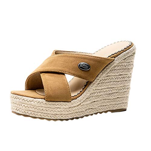 Best Price Respctful✿ Women Espadrilles Wedge Slides peep Toe Platform Slip on Heeled Criss Cross Open Toe Sandals Beige