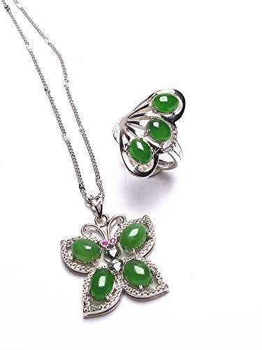 yigedan 2 anillos de plata de ley S925 natural de jade verde piedra mariposa colgante collar