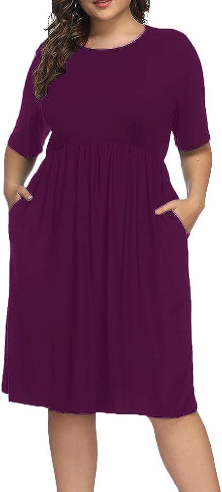 ALLEGRACE Women Plus Size Half Sleeve Round Neck Cocktail Midi Dress Ruffle Party Dresses