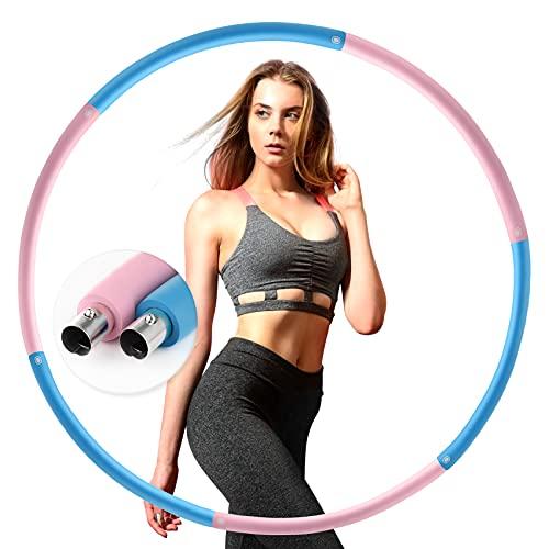 LETIGO Hula Hoop Reifen, 6 Segmente Abnehmbarer Hula-Hoop-Reifen, Edelstahlkern mit, Fitness Erwachsene Reifen Hoop, Gewichten Einstellbar von 1,2 bis 3,2 kg für Fitness/Bauchformung/Zuhause