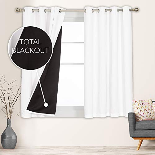 Deconovo 100% Blackout Curtains Panels with Total Block Out Liner Noise Cold Heat Reducing Thermal Insulated Window Drapes Full Sunlight Blocking for Home, 2 Pieces, Each 52x63 in, Pure White