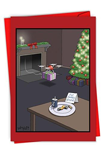 P-XSBOX-Whyatt1 NobleWorks Humor Weihnachtskarten in Box Santa's Drone Box Set Xmas Cards