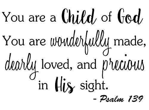 You are a Child of God You are Wonderfully Made 23 x 15 Vinyl Wall Quote Decal Sticker Church Religious Calligraphy Corinthians Nursery Art Decor Motivational Inspirational Decorative Lettering