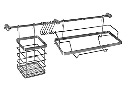 Metlex Küchenreling Küchenutensilienhalter Küchenrelingsystem Edelstahl Hängeleiste Küchenutensilien Hakenleiste 10 Telig 54cm Silber
