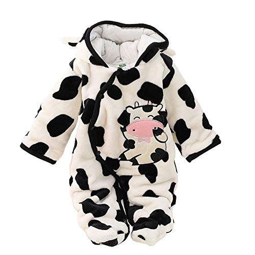 Digirlsor Newborn Baby Cartoon Deer Milk Cow Snowsuit Warm Fleece Hooded Romper Jumpsuit Pram Suit