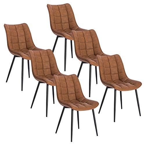 WOLTU 6 x Esszimmerstühle 6er Set Esszimmerstuhl Küchenstuhl Polsterstuhl Design Stuhl mit Rückenlehne, mit Sitzfläche aus Kunstleder, Gestell aus Metall, Hellbraun, BH207hbr-6