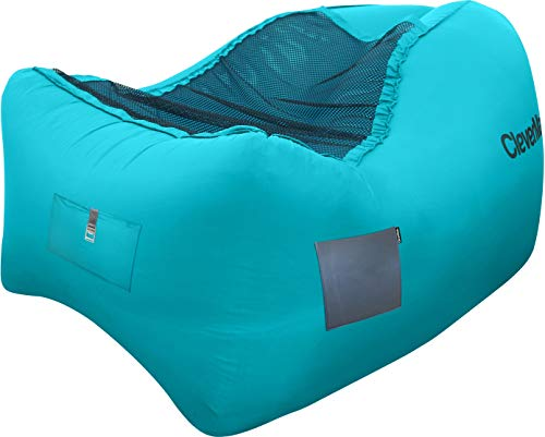 CleverMade Inflatable Lounger Air Chair: Lightweight Recliner Style Chill, Portable Outdoor Beach Chair with Carry Bag, Storage Pockets, and Bottle Opener, Teal