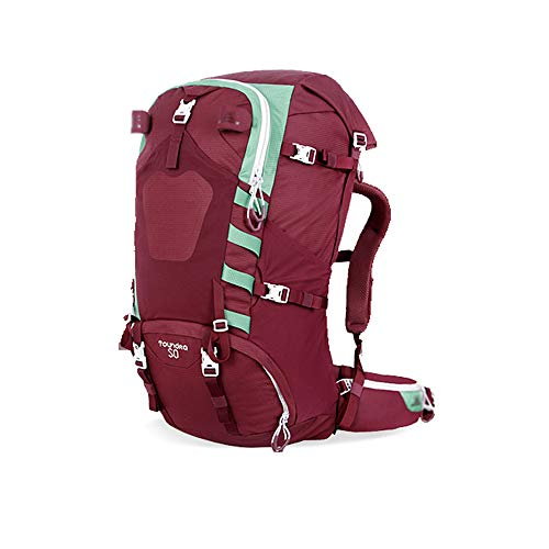 Männer und Frauen Outdoor Wandern Camping Reisen Rucksack Bergsteigen Tasche 50L Kapazität Breathable Huckepack Rose Red