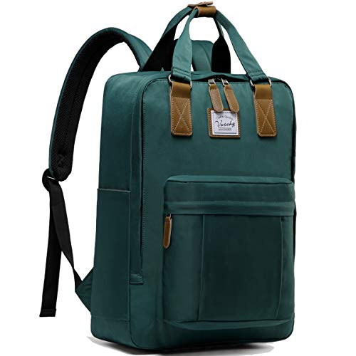 VASCHY Backpack for Women, Men Vintage School Backpack Casual Anti-Theft Rucksack Water Resistant Backpack for 15in Laptop(Dark Green)