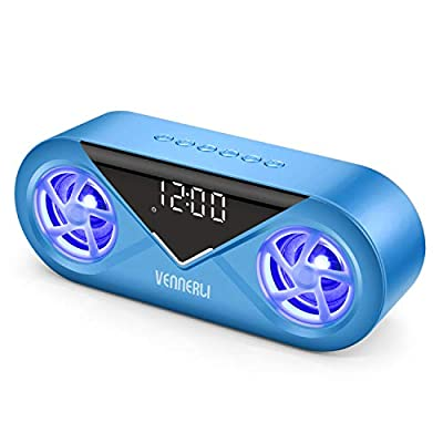 Multi-Function Bluetooth Speaker Wireless Water Proof with Lights Alarm Clock Hi-Fi Deep Bass Sound LED Compact Bluetooth Speaker Support TF Card Aux in play for Outdoor Home Desk Camping(Blue) by Vennerli