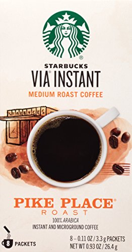Starbucks VIA Instant Coffee, Pike Place Roast, (8 Count of 0.11 oz Packets) 0.93 oz, Pack of 12