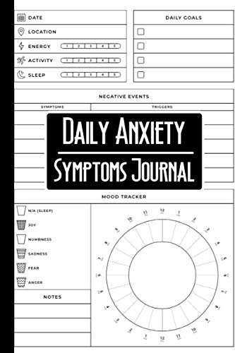 My Daily Anxiety Symptoms Journal: A Tracker To Keep Record Of Date, Location, Energy, Activity, Sleep, Daily Goals, Negative Events, Mood Tracker, Notes - Mental Health Gifts For Men, Women, Kids