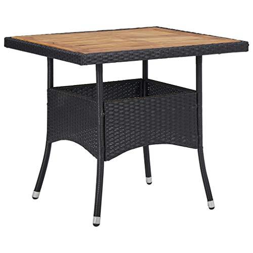 vidaXL Solid Acacia Wood Outdoor Dining Table Home Garden Bistro Backyard Patio Balcony Deck Dining Meal Furniture Black Poly Rattan