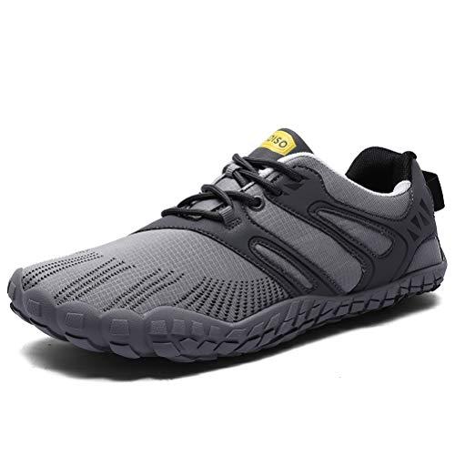 XIDISO Minimalist Trail Shoes Wide Toe Cross Training Water Sneakers Gray2, 10.5 Women/8 Men