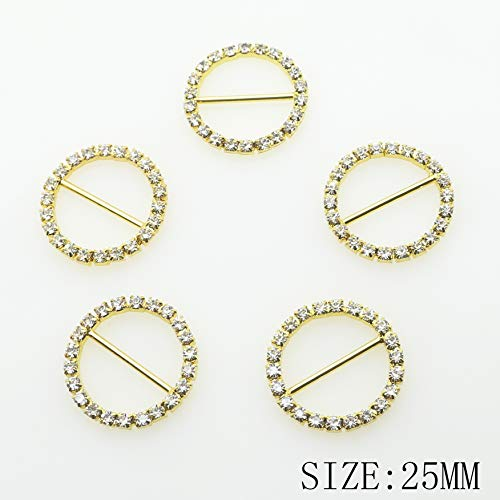 30pcs 25mm x 25mm Golden Round Shaped Rhinestone Ribbon Buckle Slider for Wedding Invitation Letter Christmas Buckles