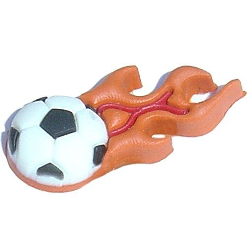 Soccer Ball with Flames Rubber Charm for Wristbands and Shoes