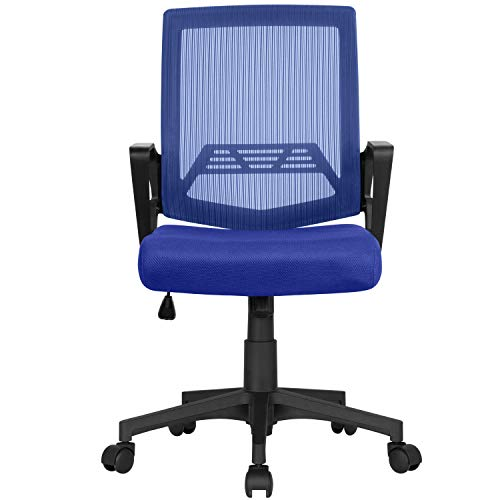 Yaheetech Office Chair Adjustable Computer Chair Swivel Chair on Wheels with Padded Seat and Lumbar Back Support for Home Blue