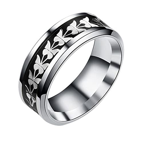 ZSDFW Anillo de mariposa para mujer, diseño simple y versátil, de temperamento, acero de titanio, para decoración de los dedos, regalo de San Valentín, color negro