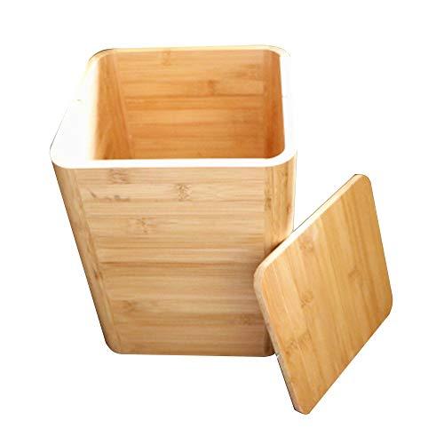 QiHaoHeji prullenbak kleine vierkante kamer prullenbak prullenbak bamboe hout afval mand Bin kleine college slaapzaal badkamer slaapkamer kantoor prullenbak met deksel