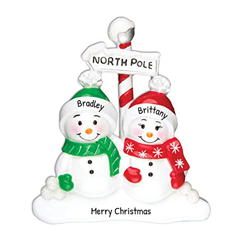 Personalized North Pole Family of 2 Christmas Tree Ornament 2020 - Snowman Hat Play Snowball Red Green Candy Cane Sign Winter Activity Tradition Sibling Friend Gift Year - Free Customization (Two)