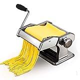 Eloklem Manuelle Machine à pâtes - Laminoir pour pâtes fraîches - Fettuccine Spaghetti à lasagnes Rouleau à Pâte Presse Cutter de Nouilles (argenté)